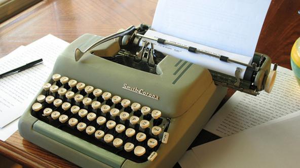 A Smith Corona typewriter.