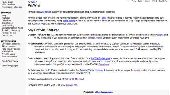 Screenshot of PmWiki.org