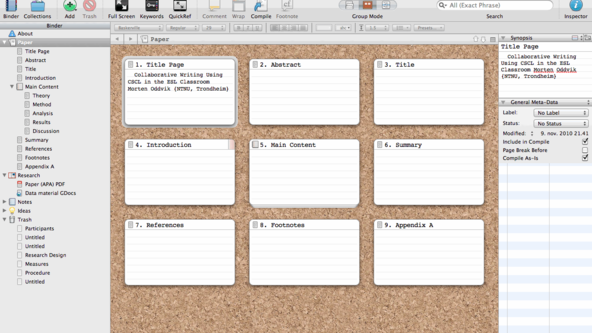 Scrivener 2.0 for Mac. Screenshot of corkboard overview.