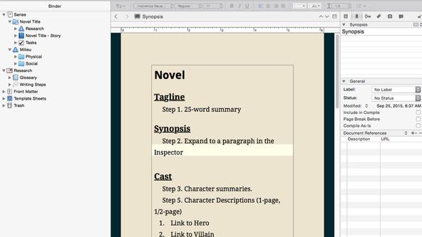 Screenshot of Scrivener Series